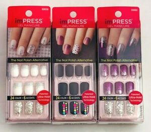 Kiss Impress Press-On Gel Manicure Nails 24 Count 6 Accents - Choose Your Shade