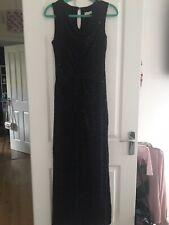 Monsoon Black Velvet Burnout Sequin Full Length Sleeveless Dress 12