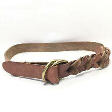 Women's J. Crew Brown Tooled Leather Double Ring Belt Size Medium