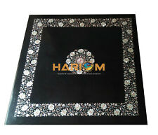 """32"""" Black Marble Coffee Table Top Mother of Pearl Floral Inlay Home Decors B122"""