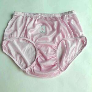 Vintage Nylon Satin Light Pink size L Soft Knickers Panties Briefs Gusset 2 pcs