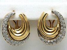 Vintage Diamond Swirl Earrings 14k yellow white gold 1.25 carats Pave Large