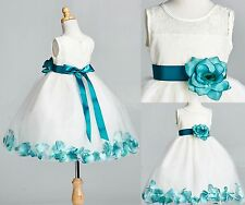 Ivory LACE Teal Rose Petal Dress Flower Girl Recital Pageant Wedding Holiday #25