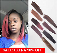 Thick Remy Human Hair Weave Weft Extensions Yaki Straight Black Brown Blonde Red