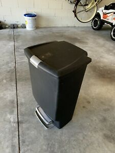 Simplehuman Kitchen Step Trash Can, Secure Slide Lock / Pet Food Container Black