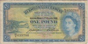 Bermuda Banknote P. 20d-5780 1 Pound 1966. PFX U/2  QE II, Fine. WE COMBINE