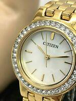 Citizen Women's Watch EJ6102-64D Quartz Gold Tone 23mm Swarovski & Bracelet Set