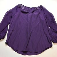 Daisy Fuentes Purple Polka Dot Long Sleeve Blouse Sz Large A248