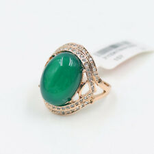 Genuine Rose Gold Emerald-Green Jade Engagement Eternity Ring size 9