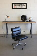 Eames Herman Miller Leather Executive Chair Soft Pad Mid Century Black Tilt