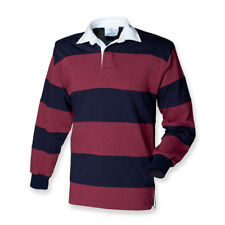 Front Row Men's Long Sleeve Sewn Stripe Rugby Shirt M Burgundy