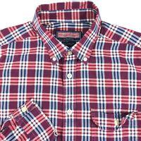 Vineyard Vines Collegiate Fit Red Blue Plaid Button Up L/S Shirt Mens Medium M