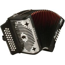 Hohner Panther 31-Key Diatonic Accordion Keys of F Bb Eb Black Laquer +Picks
