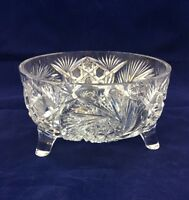 "ABP Heavy CUT Crystal 3-Footed Vintage Centerpiece Bowl 7""x 4"""