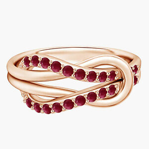 Round Ruby Stackable Infinity Love Knot Ring 9k Rose Gold