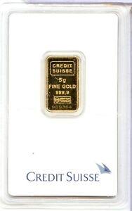 Credit Suisse 5 Gram Gold Bar .9999 Fine Valcambi MC47