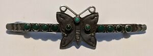 Old Pawn Navajo Sterling Turquoise Stamped Butterfly Hair Barrette