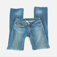 TRUE RELIGION Becky Boot Jeans Flap Pockets Women's Size 26 Low Rise Medium Wash