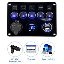 5 Gang LED Rocker Switch Control Panel 12V 24V  Car Boat Marine 2USB+Voltmeter