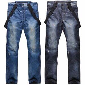 Men Ski Snow Pants Denim Waterproof Outdoor Jeans Trouser With Detachable Bib