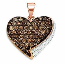 10k Rose Gold Round Brown Color Enhanced Diamond Heart Love Pendant .85Ctw