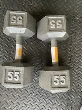 New CAP 55 LB Pound Cast Iron Hex Dumbbell Set (2 Dumbells) Free Weights