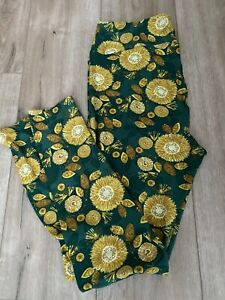 LULAROE TC Tall And Curvy Green And Yellow dandelion Floral Leggings New!