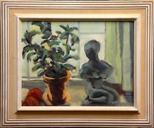 Ebbe Hoglund (1914-1993): STILL LIFE WITH FLOWER IN A POT, FIGURINE AND FRUITS