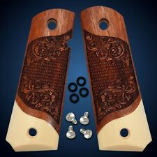 1911 Grips Full Size Scroll Simulated Ivory & Solid Rosewood Colt S&W Sig Kimber