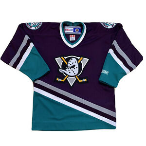 VTG 90's Youth L / XL Anaheim Mighty Ducks CCM Jersey Made Canada