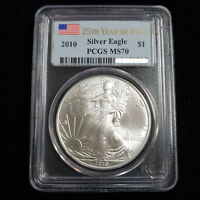 2010 AMERICAN SILVER EAGLE MS70 25TH YEAR FLAG LABEL PCGS GRADED #H54