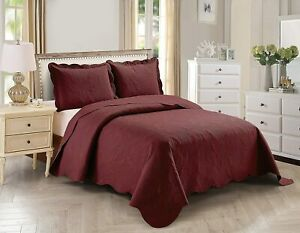 Home Collection Over Size Elegant Embossed Bedspread Set Light Weight Solid Colo