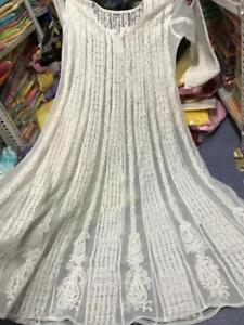 Indian Anarkali Kurti Georgette Embroided Lucknawi Chikankari Ethnic Wear Kurta