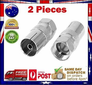 2x F-Type Male Plug to PAL Female Socket TV Antenna Aerial Cable Adaptor Adapter
