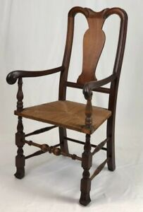 Reproduction Solid Carved Mahogany Queen Anne Splat Back Arm Chair w/ Rush Seat