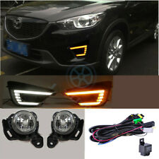 For Mazda CX-5 2012-2016 LED Daytime Running Light Fog Lamp Harness Switch Set j