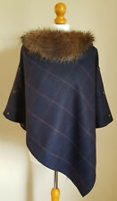 Designer Hand Made 100% UK Wool Tweed Ladies Navy Blue Cape One Size Fits 8/16