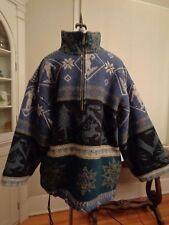 L.L. BEAN wool blend nordic aztec blanket jacket men's size L made in Portugal s