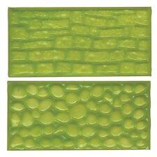FMM Fondant Impression Mat Set 2 COBBLE STONE WALL glassa sbalzo torta Sugarcraft