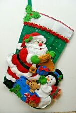 "Santa Reading Wish List With Snowman & Gifts 16"" Christmas Stocking FINISHED!"