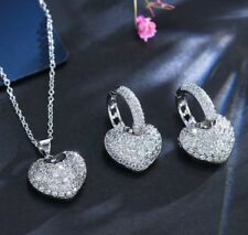 14k White Gold 3D Heart Pendant Necklace Earring Set made w/ Swarovski Crystal