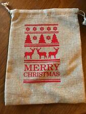 Christmas Themed Hessian Gift Bag - Draw String - NEW