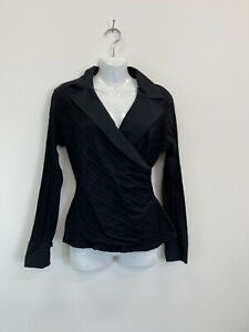 Anne Fontaine Black Collared Crossover Front Stretch Shirt Top - Size 42