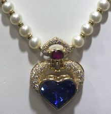 Stunning 22.65CT Sapphire 18KT Yellow Gold Pearl Necklace with Ruby and Diamonds
