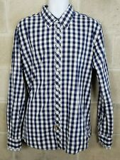 Scotch & Soda Men's Blue White Gingham Check XXL 2XL Button Front Cotton Shirt
