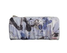 New Women's GUESS Logo WaterColor Quilted Floral Zip Around Wallet Violet Purple