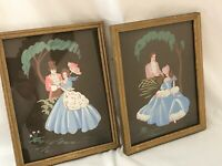 """2 Painted Victorian Gentleman & Lady Couple Framed Pictures 9 5/8""""H x 7 5/8""""W"""