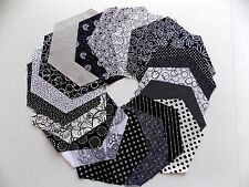 Black And White Batik 30 Piece Pack 8 Inch Hexagon Quilt Fabric Premium Cotton