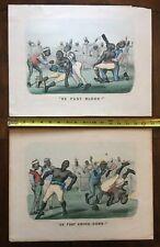 1882 Currier & Ives Black Boxing Dark Town Print Trade Card De Fust Blood