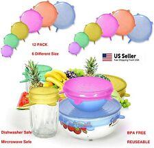 12 Pcs Silicone Stretch Reusable Bowl Food Storage Wraps Cover Seal Fresh Lids